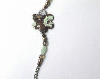 Bracelet Brown and light green, designer jewelery