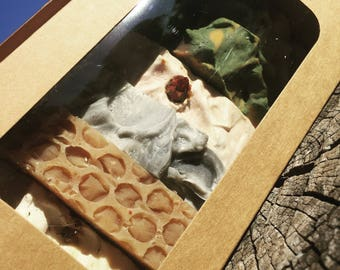 Assorted Kraft Brown Box set of Natural Goat's Milk Soap.