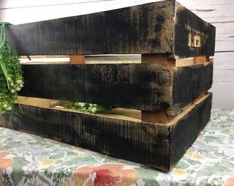Wooden Rustic Crate  - Black Industrial - Distressed Wood Black Distressed Rustic