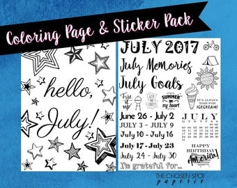 Bullet Journal stickers, July coloring page, bujo accessories, printable stickers, stars, agenda, planner stickers, black and white, summer