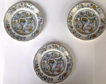 "Transferware Ashworth brothers Hanley 6"" plates, set of three"
