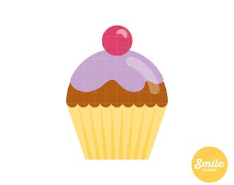 Cherry Cupcake Clipart for Commercial Use - C0025