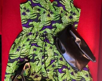 African print sleeveless short dress
