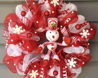 Christmas Wreath for Front Door, Xmas Wreath, Winter Snowman Wreath, Mesh Snowman Wreath, Red White Wreath, Snowman Decor, Christmas Decor