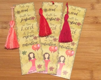 Bible Verse Bookmark - Psalm 35:9 -  handmade WITH tassel  (stock #19) rejoice in his salvation