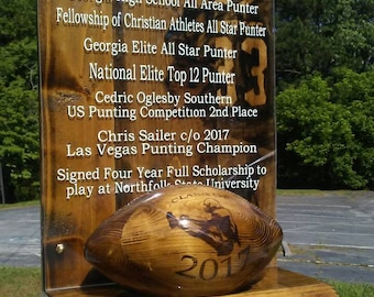 Sport Plaque with a Wooden Football