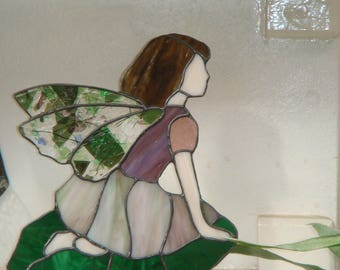 Stained glass Mauve Garden Fairy