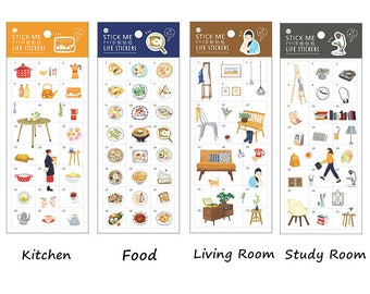 Planner/Journal Sticker Set #5 - Kitchen, Food, Living Room, Study Room
