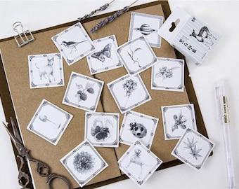 45 Pieces Black & White Stickers - Animals, Plants, Planner, Journal, Craft, Scrapbooking, Decoration