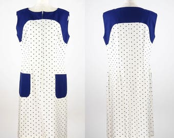1960s Alice of California Nostalgic & Romantic Navy Polka Dots Pattern Linen Dress - Excellent
