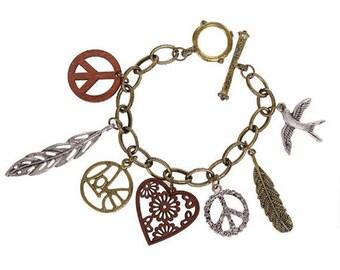 Peace Love Heart Charm Bracelet
