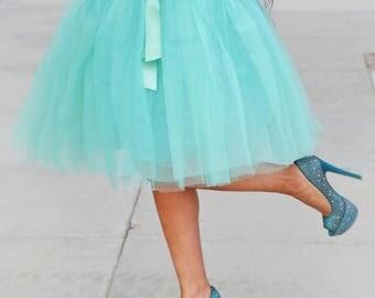 Dusty Green Skirt Bow, Tulle Skirt Bridal, Women Tulle Skirt, Wedding Tulle Skirt, Dusty Green Bridesmaids Skirt