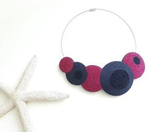 Beautiful polymer clay necklace, magenta, navy blue, bib necklace, gift for her, colorful necklace, fimo necklace, statement necklace