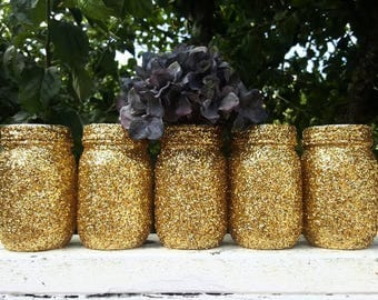 Glitter Mason Jars, Decor, Wedding, Parties, Birthdays, Office Supplies, Gold Glitter, Pint Size