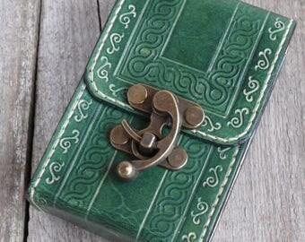 Green Tarot deck box Tarot bag Original Rider Waite Tarot leather case Leather pouch Divination tools Tarot Card holder Leather bag