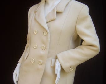 NORMAN NORELL Couture Cream Wool Jacket c 1970