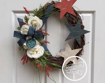 Patriotic Wreath, Star Wreath, 4th of July Wreath, Front Door Wreath, Wreath Street Floral, Grapevine Wreath, Americana Wreath,Summer Wreath