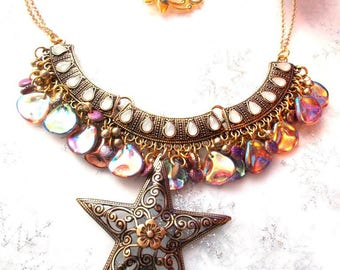 vintage gold cameo necklace Rainbow, and its star