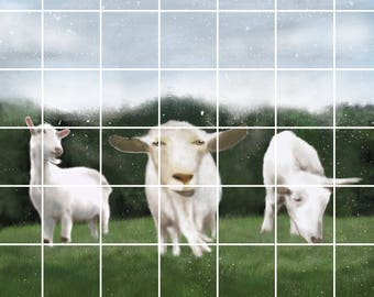 Digital goats on the prairies of the expensive painting
