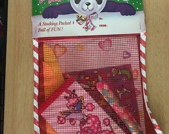 80s Vintage Lisa Frank Poodle Christmas Stocking with Stickers Unopened