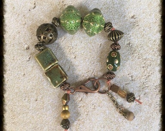 Chunky Knotted Bead Bracelet in Shades of Green and Mixed Metal.