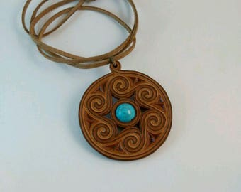Women's Necklace.Turquoise leather-framed Necklace.Gift For Her,for Bride,for Girlfriend,for Mom,for Wife.Birthday Gift