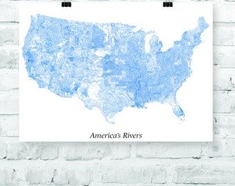 America Rivers Etsy - America's rivers map