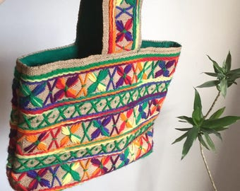 Vintage Rainbow Bag / Coudoroy / Hand Made / Purse / Hippy