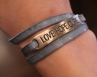 Love Hope Cure Leather Wrap Bracelets
