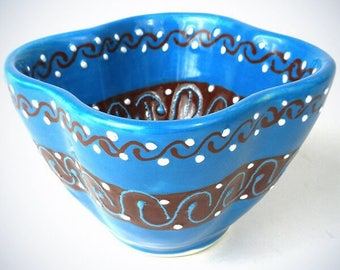 Hand Painted Dip Bowl in Azure Blue