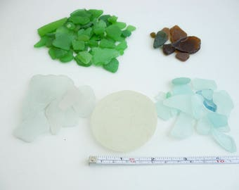 210gr Natural sea glass White Blue brown and green sea glass Natural sea glass  sea glass for crafting beach wedding glass bottom of bottle
