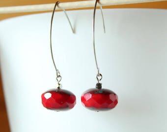 Elegant Silver Earring Pearl red flat Bohemian
