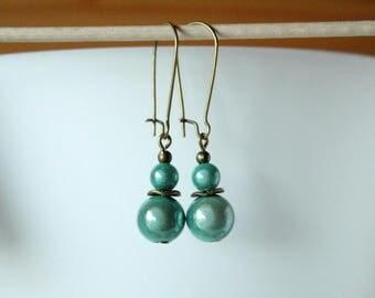 Earrings pearls magic almond Green
