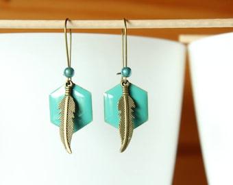 Bronze feather and sequin turquoise enamel Hexagon pendant earring
