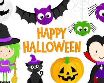 Halloween Clipart Pictures, Cute Halloween Clip Art Designs, Witch Illustration, Pumpkin Clipart Set, Commercial Use