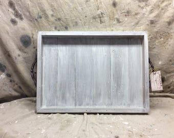 Large rectangular tray, coffee table tray, ottoman tray, white wash finish, distressed tray, rustic tray, farmhouse tray, 21x15, wooden tray