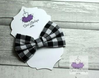 Checkered Hair Clips, Bow Hair Clips, Black and White Checkered hair clip, Fabric bow, Hair bow