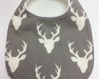 Deer Bib ~ Boy Bib ~ Gray ~ Buck ~ Woodland