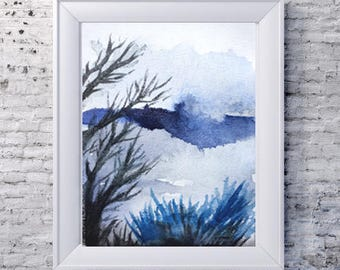 black and blue trees landscape made to order