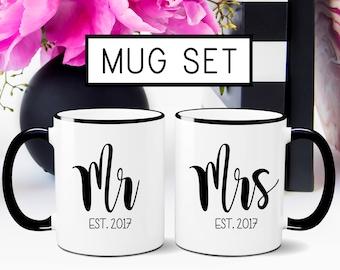 Mr. & Mrs. Mug set, Wedding Gift, Husband and Wife Mug Set, Husband Gift, Wife Gift, Engagement Gift, Newlyweds Gift, Wedding Mugs, Coffee
