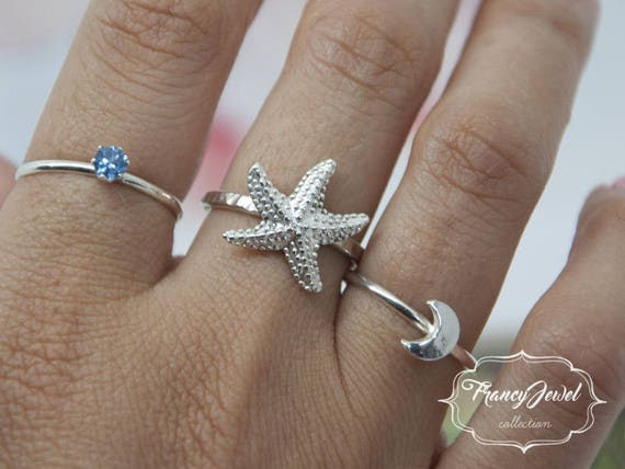 Sea star, sea star ring, made in Italy, sea jewelry, sea ring, summer vibes, made in Argentium Silver, boho chic ring, boho style, boho ring