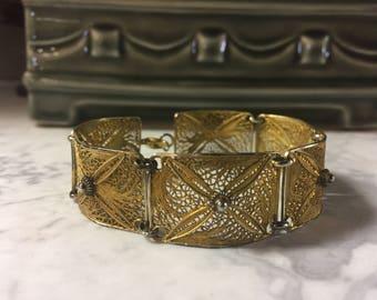 Vintage Sterling vermeil filigree panel bracelet