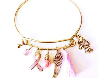 Pink Ribbon Awareness Bracelet | Breast Cancer Awareness | Silver Bangle | Charm Bracelet | Pink Tassel | Ladies Jewelry |Gift