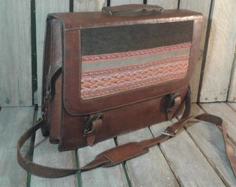 Vintage Briefcase/Leather Briefcase/Briefcase/Navajo/Bohemian