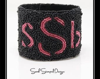 Monogrammed Bead Embroidery Cuff