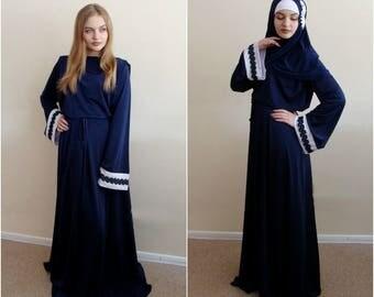Blue and white maxi dress, lace abaya, Owersize Flared dress, Muslim clothing, Elegant ramadan dress, Kimono abaya,Long sleeve dress
