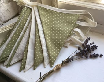Cream lace and Green spots bunting - handmade and double sided providing a quality and long lasting purchase