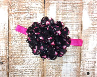 Valentines Day Head Band, Hot Pink & Black Head Band,Heart Head Band, Newborn Head Band, Toddler Head Band, Girls Head Band, Photo Prop