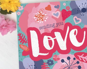 Friendship Card, Female Card, Card for Her, Colourful Friendship, Botanical Card, Modern Card, Bright Card, Love, Valentines Card