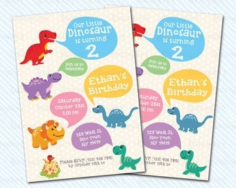 Digital Printable Dinosaur Birthday Invitation. Rawr party. Boy Birthday